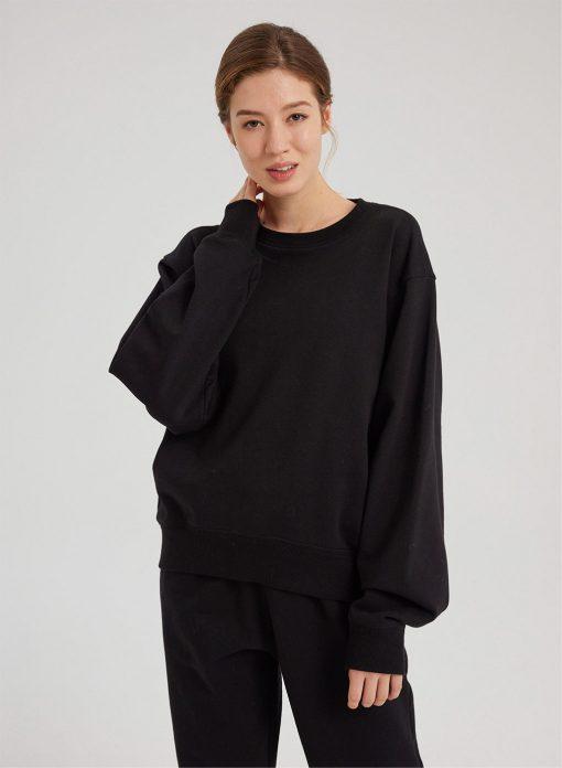 Drop Shoulder Loose Black Sweatshirt